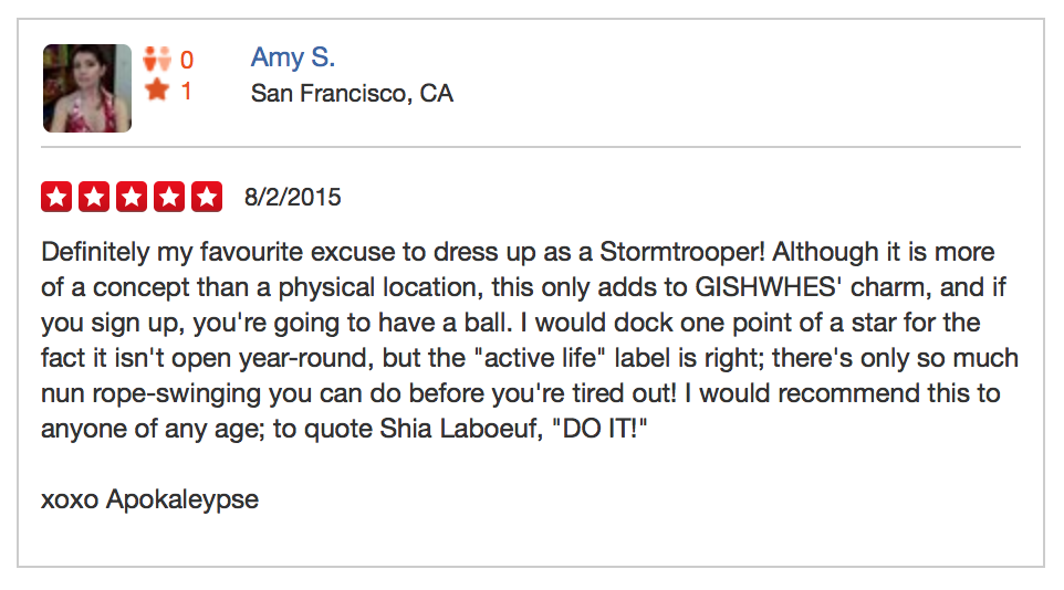 Item 200 - GISHWHES Yelp Review
